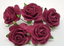 BURGUNDY ROSES (2.5 cm) Mulberry Paper Roses (Previously known as 3.0 cm)